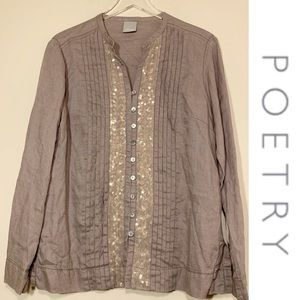 Poetry   100% Linen Shirt With Sequins   Size 16